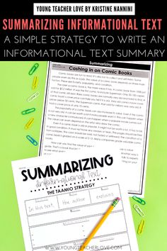 Teach your elementary students about Summarizing Informational Text: A Simple Strategy to Write an Summary. Summarizing nonfiction text teaches them to determine the most important ideas in a text, ignore unimportant information & connect the main idea & key details of a text in a logical way. It also helps improve memory & comprehension of a text. Students will learn the main idea, important or key details, follow the text structure & putting it all together. #4thGrade