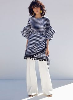 Sukienka w kratkę vichy z pomponem - Sukienki i spódnice - Kolekcja - Uterqüe Poland