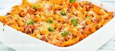 Heerlijke variant op de traditionele pasta bolognese gegratineerd met kaas