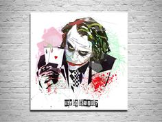 Looking for a gift for a gambler or poker fan? Look no more - Contemporary abstract canvases prints by Katia Skye - a perfect gift for a friend or a loved one! easy.com/shop/katiaskye  Poker player gift Canvas Print Abstract Poker Art, Joker with Aces Why So Serious, Contemporary Abstract Drawing, Watercolor Modern Art by KatiaSkye on Etsy