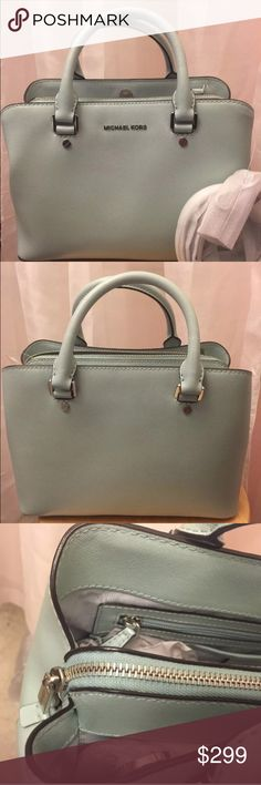 $348 Michael KORS Savannah Celadon leather bag 100% AUTHENTIC. Gorgeous purse by Michael Kors. Superb quality, made for endurance.   Michael Kors Medium Satchel/Crossbody Bag   Style: Savannah   Color: Celadon   Dimension:  11 in (Width) x 8 in (Height) x 5 in (Depth)   Handles are 4 inches (10 Cm) drop, detachable and adjustable crossbody strap is included.   Features: Genuine leather. Silver hardware. Magnetic snap closure Interior is lined with signature fabric. It has a middle zipped…