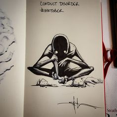A year appointment ends of Inktober in which artists from around the world unleash their creativity. Shawn Coss drawing the mental disorders. Creepy Drawings, Dark Drawings, Creepy Art, Cool Drawings, Creepy Sketches, Arte Horror, Horror Art, Inktober, Mental Health Art