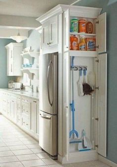 Small Kitchen Makeover Gorgeous Small Kitchen Remodel Ideas 06 - Remodeling your small kitchen shouldn't be a difficult task. When you put your small kitchen remodeling idea on paper, just […] Kitchen Ikea, Kitchen And Bath, Kitchen Small, Hidden Kitchen, Kitchen Cleaning, Smart Kitchen, Awesome Kitchen, Narrow Kitchen, Cleaning Closet