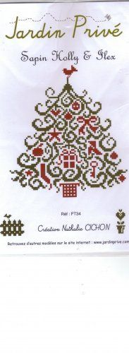Sapin Holly & Flex is the title of this cross stitch pattern from Jardin Prive that is stitched with DMC threads.