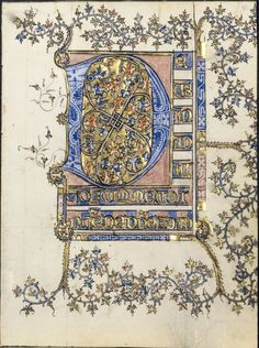 Leaf from a Book of Hours: Initial D, c. 1400.France, probably Soissons, 15th century. Ink, tempera and gold on vellum .Cleveland Museum of Art