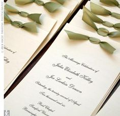 Programs - printed on traditional ivory cards with black script and a green ribbon tied at the top. Army Wedding, Wedding Menu, Wedding Programs, Wedding Cards, Destination Wedding, Wedding Ideas, Moss Green Wedding, Wedding Planning Boards, Wedding Invitation Suite