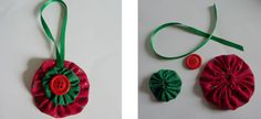 Make a quick holiday ornament with your fabric yo yos