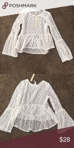 Cream lace blouse Brand new. Can be wore with camisole under. Esley Tops Blouses