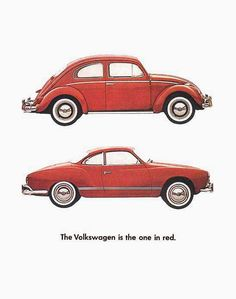 VW Volkswagen The One In Red Beetle Karmann - Mad Men Art: The Vintage Advertisement Art Collection Auto Volkswagen, Volkswagen Karmann Ghia, Volkswagen Thing, Ferdinand Porsche, Vw T1 Samba, Vw T3 Doka, Red Beetle, Kdf Wagen, Auto Union
