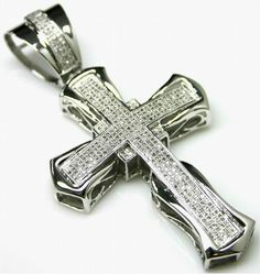 FB Jewels 10K White Gold Cross Cut Out and High Polish with Pointed Tips Pendant