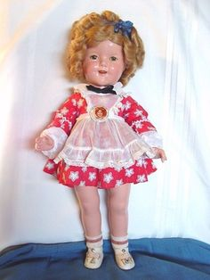 VINTAGE IDEAL USED SHIRLEY TEMPLE DOLL IN LITTLE REBEL DRESS WITH ORIGINAL PIN! | eBay