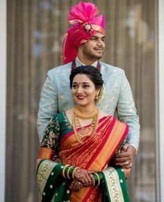 Bride & Groom Wardrobe Stylist Bridal Ornaments Stylist Fitness Nutrition Skincare Makeup & Hairstylist &many Couple Wedding Dress, Desi Wedding Dresses, Wedding Poses, Saree Wedding, Marathi Bride, Marathi Wedding, Indian Bridal Outfits, Indian Bridal Fashion, Indian Wedding Couple Photography