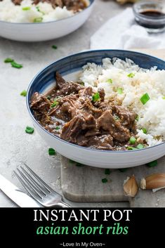 These Instant Pot Asian short ribs practically melt in your mouth! You'll be addicted to these pressure cooker short ribs after trying them for the first time! // Instant Pot boneless short ribs // Instant Pot beef short ribs via Pressure Cooker Short Ribs, Pressure Cooker Recipes, Slow Cooker, Pressure Cooking, Rice Cooker, Asian Recipes, Beef Recipes, Cooking Recipes, Savoury Recipes