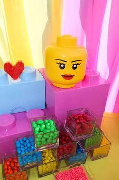 Candy cubes at a LEGO birthday party! See more party planning ideas at CatchMyParty.com!