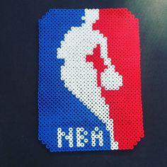 NBA logo perler beads by origamiandpoetry
