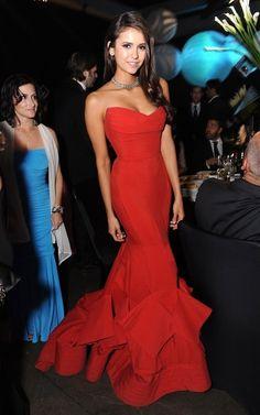 Nina Dobrev in Donna Karan 2012 Red Dress for Emmys Elegant Dresses, Pretty Dresses, Beautiful Dresses, Formal Dresses, Gorgeous Dress, Long Dresses, Evening Dress Long, Evening Dresses, Fashion Vestidos