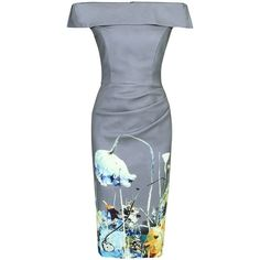 Jolie Moi Printed Bardot Bodycon Dress, Grey Floral ($61) ❤ liked on Polyvore featuring dresses, long-sleeve floral dresses, long-sleeve mini dress, bodycon dress, floral print dress and maxi dresses