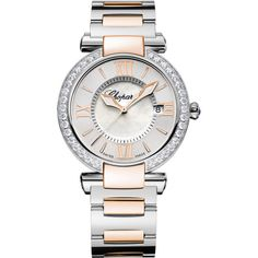 Chopard Imperiale Two-Tone 36mm Watch with Diamonds (€14.635) ❤ liked on Polyvore featuring jewelry, watches, diamond jewellery, chopard, chopard jewellery, 18k watches and 18 karat gold jewelry