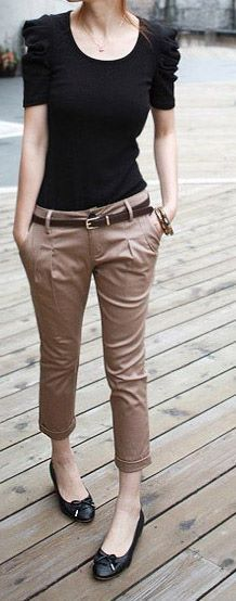 Cute pants and simple work outfit