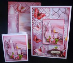 Cardtopper with matching envelope Tea Time pink 653 on Craftsuprint designed by Gertraud Lueckel - made by Michelle  Chivers - Printed onto matte coated paper, then mounted onto white card. I used silicone for the decoupage and DST to mount the insert. I printed the envelope onto 120gsm paper and used DST to make. - Now available for download!