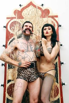 Absinthe Bizarre Artist LouLou D'vil told me.  I love strong men... especially this one - The Baron! If you would like to see us performing together, you should check Circus meets Burlesque event on next week!  http://circusruska.com/burlesque/ohjelma-2/  Image: Qumma Art Custom made feather fans by FancyFeather.com