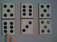 Vintage dominoes! Took a while but love the way they turned out! Original idea from Shanty-2-chic!
