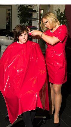 Nylons, Tan Pantyhose, Cut My Hair, Hair Cuts, Forced Haircut, Blouse Nylon, Red Raincoat, Capes, Girl Haircuts