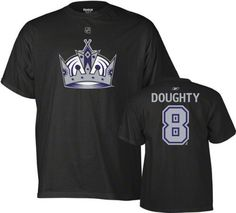 Reebok Los Angeles Kings Drew Doughty Player Name & Number T-Shirt Large by Reebok. $24.99. Wearing this NHL® Player Name & Number tee shirt from Reebok® will show everyone you're a hardcore fan! Classic cut and made of high-quality cotton, this short-sleeve shirt is designed with the full-color team logo screen-printed on the front and the player's name and number screen-printed printed on the back.