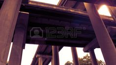 Picture of Birmingham overpass motorway network from below stock photo, images and stock photography.
