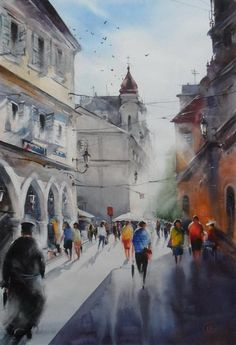 by Ilya Ibryaev Watercolor Architecture, Urban Architecture, Watercolor Landscape, Watercolor Artists, Watercolor Paintings, Watercolors, Oil Canvas, Art Pictures, Photos