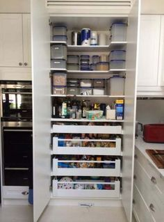 Cool And Contemporary kitchen pantry cabinet dimensions made easy - pantry redo Kitchen Pantry Design, Kitchen Pantry Cabinets, Home Decor Kitchen, Interior Design Kitchen, New Kitchen, Kitchen Storage, Larder Storage, Small Kitchen Pantry, Kitchen Ideas