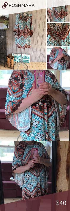 Selling this Boho Tunic top kimono sleeve print 👄 on Poshmark! My username is: countryliving37. #shopmycloset #poshmark #fashion #shopping #style #forsale #Tops