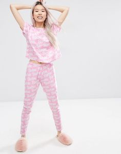 4906eb2f36 ASOS Barbie Logo Tee   Legging Pajama Set at asos.com