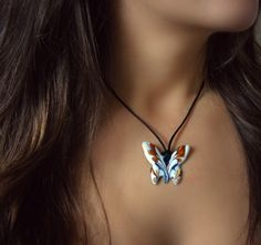 Necklace - Blue&White – Made In France - jewelry for women designer necklaces Bracelet Designs, Necklace Designs, Butterfly Necklace, Heart Bracelet, Necklaces, Bracelets, Designing Women, Favorite Color, Chokers