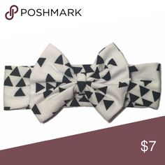 White Headband White headwrap with a black triangle design & can't forget about that bow! Measures at about 15in long and has lots of stretch, a little under 2.5in wide and bow is about 4in wide. Accessories Hair Accessories