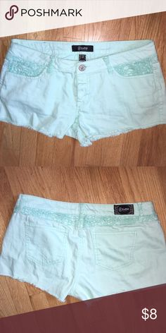 Aqua shorts Size 13. Aqua Jean shorts with lace trim. Gently used. Shorts Jean Shorts