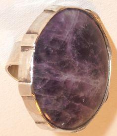 anillo plata envejecida y amatista