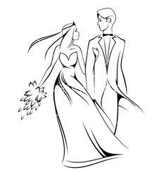 Cartoon bride and groom vector on VectorStock®