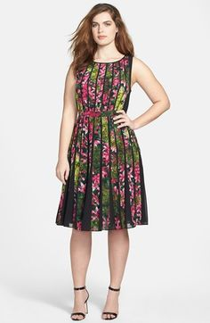 Adrianna Papell Floral Pleated Dress (Plus Size) Lipstick Fat Fashion, Plus Size Fashion, Fashion Outfits, Womens Fashion, Dress Plus Size, Plus Size Outfits, Dress For You, Dress Up, Prom Dress