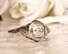 Exquisite Antique Engagement Ring 0.36ct Old European Cut Diamond 18K White Gold Filigree Diamond Wedding Ring! by LadyRoseVintageJewel on Etsy