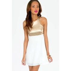 Racerfront White & Gold Dress