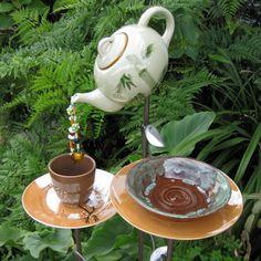 Tea garden waterfall, for the fairy garden Garden Crafts, Garden Projects, Diy Projects, Amazing Gardens, Beautiful Gardens, Alice In Wonderland Garden, Garden Waterfall, Garden Whimsy, Garden Junk