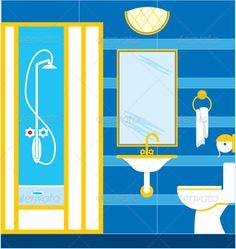 Bathroom. Shower cabin  #GraphicRiver         Vector illustration. It is created in the CorelDraw program. It is edited in the Adobe Illustrator program. It is kept in illustrator eps version 8. The file can be edited in any program of vector graphics. The size of the file can be increased till any size without quality loss. In this file there are no gradiyentny fillings and mesh. File full-color. The illustration can be used both entirely, and in parts.     Created: 29June12…