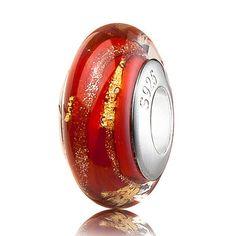 ATHENAIE genuino cristal de Murano 925 la base de plata de 18 quilates de Red Hot Foill Fit Todas las pulseras europeas del oro y del encanto del collar de perla