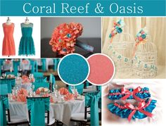 Wedding Cakes Coral Reef and oasis color combination. Beach themed wedding - coral and teal colors. Coral Wedding Themes, Beach Wedding Colors, Beach Wedding Guests, Wedding Sand, Wedding Coral, Wedding Ideas, Blue Coral Weddings, Wedding Planning, Wedding 2017