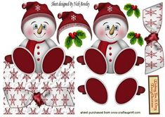 JOLLY LITTLE SNOWMAN IN RED WITH HOLLY OVER THE EDGE on Craftsuprint designed by Nick Bowley - JOLLY LITTLE SNOWMAN IN RED WITH HOLLY OVER THE EDGE, Makes a lovely christmas card, lots of other lovely colours to see - Now available for download!