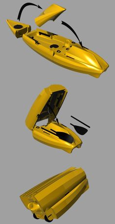 10ft Long Fishing and Touring kayak.. nests and folds to fit in your car not on top of it. Easier to store and transport with its own built in wheels.