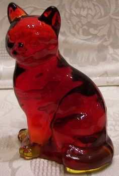 SOLD 2009 Fenton Glass Ruby Red Sitting Cat | eBay