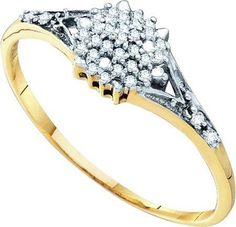 10KT Yellow Gold 0.11CTW DIAMOND CLUSTER RING: Rings