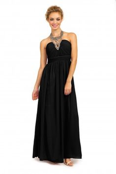 7c8c976630b Black Heavily Embellished Halterneck Chiffon Maxi Dress